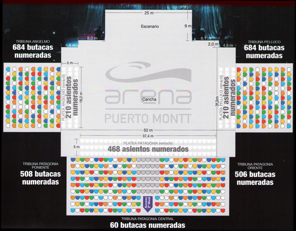 Arena Puerto Montt - Dimensiones de la Cancha y butacas que la rodean.